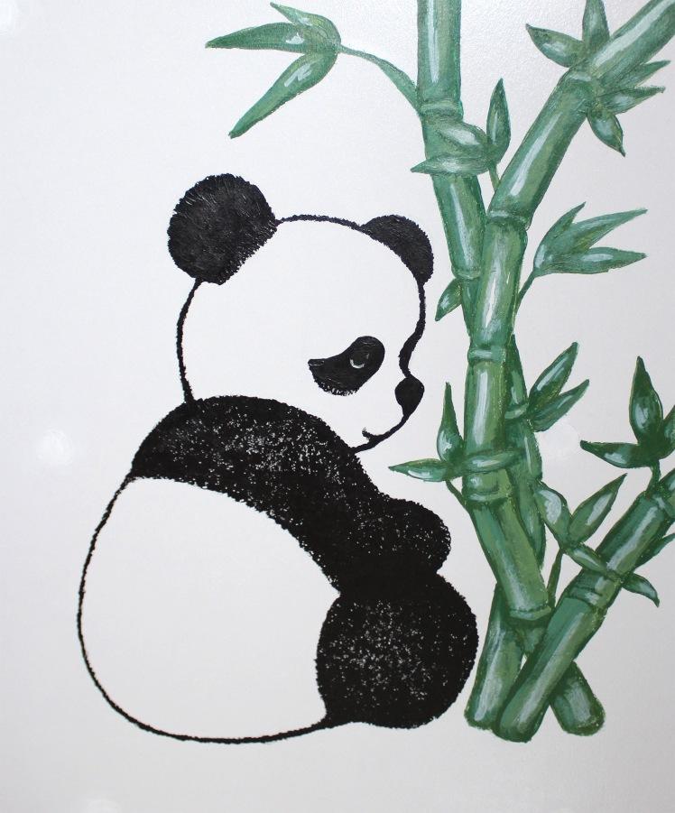 meuble décoré panda et bambous