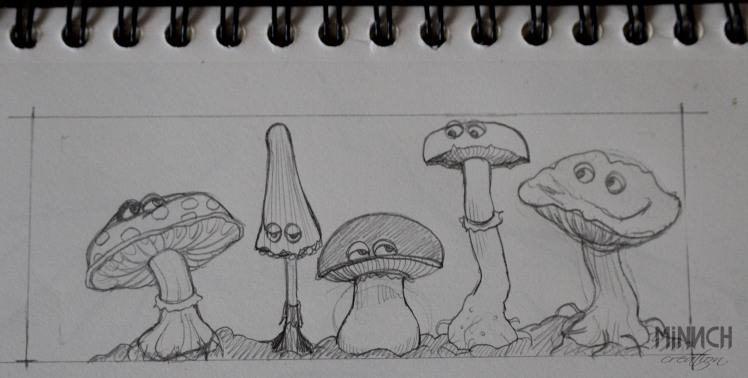 crayonné dessin champignons