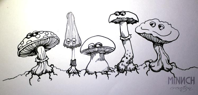 Encrage dessin champignons