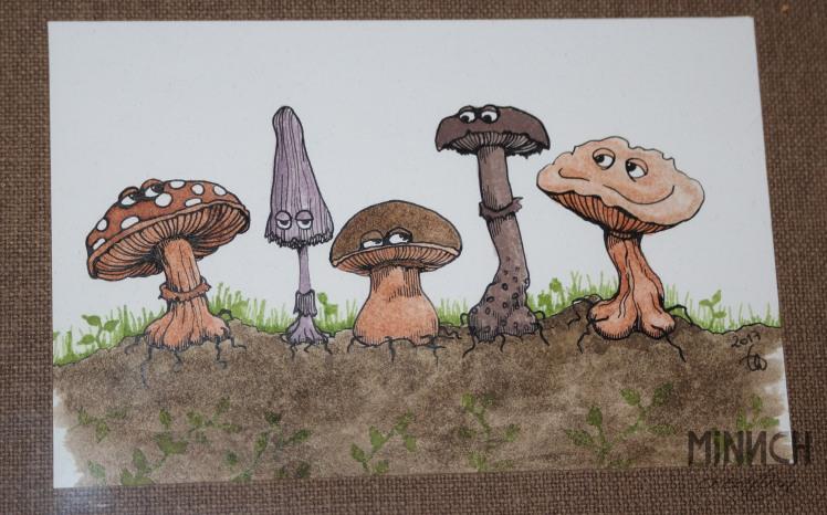 Illustration mise en couleur à l'encre.